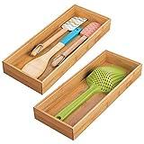 mDesign 2er-Set Schubladeneinsatz für die Küche – modularer Besteckkasten für Silberbesteck und mehr – Organizer aus Bambus für die Schublade – hellb