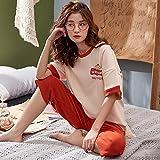 Damen Schlafanzug Pyjama,Süße Gedrucktfrühling Sommer Pjs Sleepwear Set Zweiteilige Kurze Ärmel Tops Hose Anzug Baumwolle Nachtwäsche Weiche Dünne Loungewear Homewear Für Erwachsene Damen Mäd