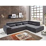 Ina Ecksofa in Centauri Anthrazit, Ottomane Links, mit großer Sitzfläche und Schwenkrücken, hochwertige Polsterung, gemütliches Sofa in modernem Design