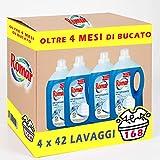 Romar Flüssigwaschmittel für Waschmaschine, Konzentrat, Format 168 Waschladungen, 4 Packungen mit 42 Waschgängen zu je 3000 ml, weiße und bunte Kleidungsstücke, 12 Liter, klassisch
