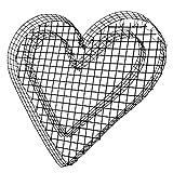 bellissa Herz-Gitter Pflanzschale - 99589 - Gabionen-Pflanzgefäß für Balkon, Terrasse und Garten - herzförmige Beet- und Grabdekoration mit Bodengitter - 37 x 34 x 4