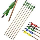 ZSHJGJR 6pcs Bogenschießen Bambus Pfeilschaft Für Bogen Traditional Bambus Pfeile mit Naturfedern Handmade für langbogen und Recurvebogen Bogenpfeile (Grün)