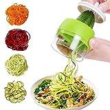 【 4 In 1 】Gemüse Spiralschneider, Spiralschneider Hand, Gemüsehobel Gemüsenudeln Schneider für Karotte, Gurke, Kartoffel, Kürbis, Zucchini(Mehrzweck)