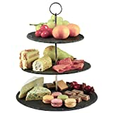 Dimono® Etagere Premium Servier-Ständer 3-Etagen; Servier-Tablett aus echten Schiefer-Naturstein für Desserts, Kuchen, Käse, Wurst; 3-stöckig (Schiefer Naturstein)