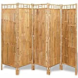 YJYDD 5-Fach Bambus Raumteiler Paravent Trennwand Sichtschutzwand 200x160 cm