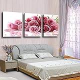vbewuvbiewv 3 Stück Moderne Gedruckt Rose Blume Malerei Leinwand Blumen Bild Wandkunst Wohnkultur Für Wohnzimmer Kein Rahmen