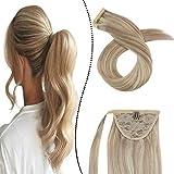 Extensions Pferdeschwanz Echthaar 100% Remy Brasilianer Haarteile Zopf 60GR 14Zoll Clip-in Ponytail Wrap Around Haarverlangerung Easy Fit (Aschblond gemischt Gebleichtes Blond #P18/613)