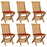 vidaXL 6X Teak Massiv Gartenstuhl mit Roten Kissen Gartenstühle Klappstuhl Klappstühle Holzstuhl Gartenmöbel Stuhl Stühle Terrasse Balkon