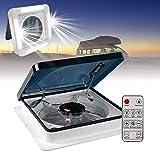 HIMAPETTR LED Dachluke Wohnmobil, mit Fernbedienung 12V Wohnmobilventilator, mit 3-Gang-Einlass und Auslass, Elektrischer Kurbelhub und auchdeckel,Lüftungsgeräte für Wohnmobile