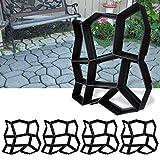 BMOT Garten Gießform DIY Pflasterform Betonpflaster Gehweg Gießform 43 x 43x 4cm Plastikformen für Beton, Gehweg, Pflastersteine, Terrassenplatten Wiederverwendbar 5 Stücke - Schw