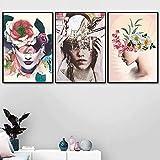 SHPXMBH Wandkunst Foto 3 Stück 40 x 60 cm Kein Rahmen Abstrakte Leinwand Wandkunst Mädchen Pflanze Blatt Rose Blume Skandinavische und Bedruckte Wandfoto Wohnzimmereinrichtung