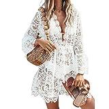 L&ieserram Damen Spitze Strandkleid V-Ausschnitt Badeanzug Bedecken Pareos Kimono Cardigan Strandkleid Boho Transparent Strandponcho (Weiß, M)