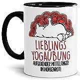 Tasse mit Katze und lustigem Spruch - Yoga-Übung aufgehender Mittelfinger - Witzige Bürotasse - Geschenk für Yoga-Fans - Innen & Henkel Schwarz, 300 ml