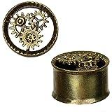 Chic-Net Messing Tunnel Steampunk Zahnräder antik golden 3D plastisch Piercing
