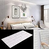 BALLSHOP 10 Tlg 77x70cm Tapete Selbstklebend Wandpaneele Wandverkleidung Steinoptik 3D Weiß PE-Schaum Wasserdicht Schnelle und Leichte Montage für Schlafzimmer Wohnzimmer Balkon Kü
