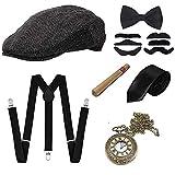 GOLDGE 1920s Herren Accessoires Set Mafia Gatsby Gatsby Kostüm Set mit Panama Gangster Hut Verstellbarem Hosenträger Krawatte Fliege Retro Taschenuhr Zigarre Bart (7PCS)