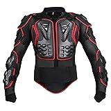 SHUOJIA Motorrad Schutz Jacke Pro Motocross ATV Protektorenjacke Mit Rückenprotektor Scooter MTB Enduro Für Damen Und Herren (Black red,M)
