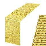 MENGQ Goldener Tischläufer 30,5 x 274,3 cm, 10 Stück Pailletten-Tischläufer, Party-Dekoration, Glitzer, glitzernd, Dinner-Partyzubehör, Stoff für Babyparty, Urlaub, Feiern