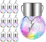 Tquuquu Solarleuchter im Freien mit 10 Glasscherben, Wasserdichten dekorativen LED-Kugellichtern, Baumlichtern mit Haken, zu Weihnachten dekorierten Gartenterrassen