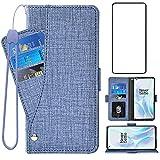 Asuwish Kompatibel mit OnePlus 8 Pro One Plus 8Pro 5G Wallet Case Gehärtetes Glas Displayschutzfolie und Leder Flip Cover Kartenhalter Ständer Handyhüllen für On 1Plus 1 + Plus 8 1+ Damen Herren Blau