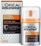 L'Oréal Men Expert Hydra Energy Comfort Max, Feuchtigkeitspflege für sensible Männerhaut belebt, zieht schnell und ohne Rückstände ein ohne fetten (50 ml)