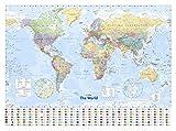 Maps - World Map - Landkarten Poster Politische Weltkarte Flaggen Version in Englisch 91,5x61 cm + Zusätzlich: 1 Korkplatte 61x91,5x1,0 cm - Naturprodukt