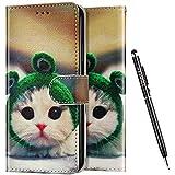 Uposao Kompatibel mit Huawei P40 Lite E Hülle Leder Handyhülle Schutzhülle Bunt Cartoon Muster Flip Wallet Bookstyle Case Tasche Lederhülle Klapphülle Magnet Kartenfächer,Katze #3