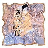 prettystern Damen-Tuch 90cm X 90cm groß Kunstdrucke Jugendstil Seidentuch - Gustav Klimt - Der Kuss (grau-blau) P681