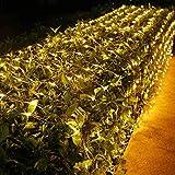 LED Lichternetz Außen BrizLabs 240 LEDs Lichterkette Netz Lichtervorhang Warmweiß 8 Modi Weihnachten Beleuchtung mit Fernbedienung Timer Lichterkettennetz für Innen Wohnzimmer Party Halloween Deko