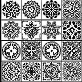 Dokpav 16 Stück Mandala Schablonen Wiederverwendbare Stencil Schablonen zum Malen auf Holz, Stein, Stoffen, Metall, Möbeln und Wänden, Schablonen Wandgestaltung