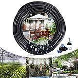 Tencoz Bewässerungssystem Sprühnebel Kühlung Misting Cooling System 15 Meter Schlauch und 18 Metalldüsen Verstellbarem Schlauch Wasserzerstäuber für Garten, Gewächshaus, Terrasse,
