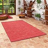 Pergamon Baumwolle Natur Kelim Teppich Easy Rot Meliert in 7 Größ