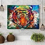 MJKLU ComicsAbstract Aquarell Leinwand Malerei Tier Tiger Gesicht Druck Bild Wandkunst Poster Eingang Veranda Korridor Gang Wohnzimmer Schlafzimmer Wohnkultur 40X55CM