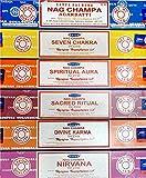 NAG CHAMPA Seven Chakra, Spiritual Aura, Sacred Ritual, Nirvana Divine Karma in einer Packung mit 15 g pro spiritueller Packung, 6-teiliges Set