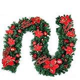Stafeny Weihnachtsgirlande, 2,7 m künstlicher Weihnachtskranz mit Lichtern, Weihnachtskranz, Rattan-Dekoration, Weihnachts-Party-Dekoration, Weihnachtsbaum, Kamin und T