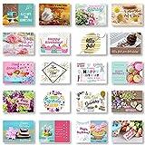 Domelo Geburtstagskarten 20er Set mit Umschlag, Happy Birthday Postkarten, Kraftpapier Karten zum Geburtstag, Geburtstagskarte für Mann/ Frau/ Kinder, Postkarte als Grußkarten (Set 4)