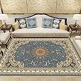 Teppiche Teppich kinderzimmer rund Gelber Blauer Blumen-Pattern-Teppich ist leicht zu reinigend verfügbares Wohnzimmer schlafzimmerdeko Teppich Flur 120*160