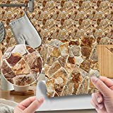 CACAIMAO Imitierte Holzmaserung Fliesen Aufkleber, PVC Retro Bodenaufkleber, Home Decoration Selbstklebende wasserdichte Wandaufkleber 20Pcs 10cm*10cm