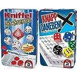 Schmidt Spiele 51296 Kniffel Extreme, Bring Mich mit Spiel in Metalldose & 51426 Knapp Daneben, Würfelspiel in der Metalldose, bunt