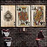 Vintage Poker Spielkarten Leinwand Malerei Poster und Drucke Wandkunst Bilder für Home Design Schlafzimmer Wanddekoration 60x90cmx3 Rahmenlos