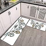 2 STK rutschfest Küchenmatte,dekorative Dreieckspfeile Schmuckfedern Perlen Küchenteppich weich und superabsorbierend,Küche Fußmatte Badeteppich Teppich Set