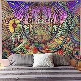 Schädel Tapisserie Wandbehang Blume Weissagung Tarotkarte Hexerei Hippie psychedelische Tapisserie Hintergrund Stoff A4 73x95cm