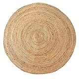 LaLe Living Runder Natur Teppich YUVA aus Jute, rund in Ø150 cm für Esszimmer, Wohnzimmer, Kinderzimmer, Bü