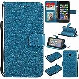 pinlu® PU Leder Tasche Handyhülle Für Nokia Lumia 630 Smartphone Wallet Hülle Mit Standfunktion und Kartenfach Design Rattan Blume Prägung Blau