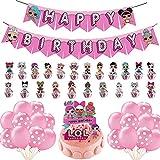 FANDE LOL Birthday Decorations 46 PCS LOL Surprise Dolls Party Set LOL Themed Party Balloon LOL Surprise Dolls Happy Birthday Banner Children's Birthday Party Decoration