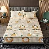 YFGY Textiles Spannbettlaken Spannbetttuch Super King 180 * 200cm, Cool Fitted Bettlaken mit Kissenbezug Sommer Bettwäsche-Sets, Bequeme Bettmatte Soft Bed Schutzhülle orange 3PCS