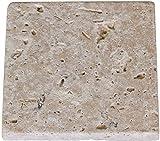 Greendoor Travertin-Stein-Seifenschale/Travertin-Seifenunterlage, getrommelt = antiker Look, abgerundete Kanten, mit Korkpads auf der U