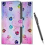 Uposao Kompatibel mit Samsung Galaxy A51 5G Hülle Wallet Handyhülle Bunt Retro Muster Lederhülle Schutzhülle Brieftasche Klapphülle Flip Case Magnet Ständer Kartenfächer,Fußabdruck