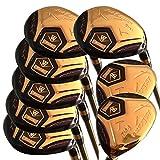 Japan WaZaki 4-SW USGA R A Rules Hybrid-Eisen Golfschläger-Set, 14 K Gold-Finish, Regulärer Flex, 65 g Graphitmeisen-Schaft, plus 1,5 cm Länge, limitierte Auflage, mit Abdeckungen, 16 Stück