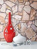 Steintapete Vlies Braun Beige | schöne edle Tapete im Steinmauer Design | moderne 3D Optik für Wohnzimmer, Schlafzimmer oder Küche inkl. der NewroomTapezier-Profibroschüre mit Tipps für perfekte Wände